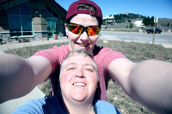 Two people taking a selfie